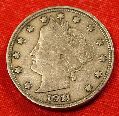 1911 LIBERTY V NICKEL F  DATE BEAUTIFUL COLLECTOR COIN GIFT LN389
