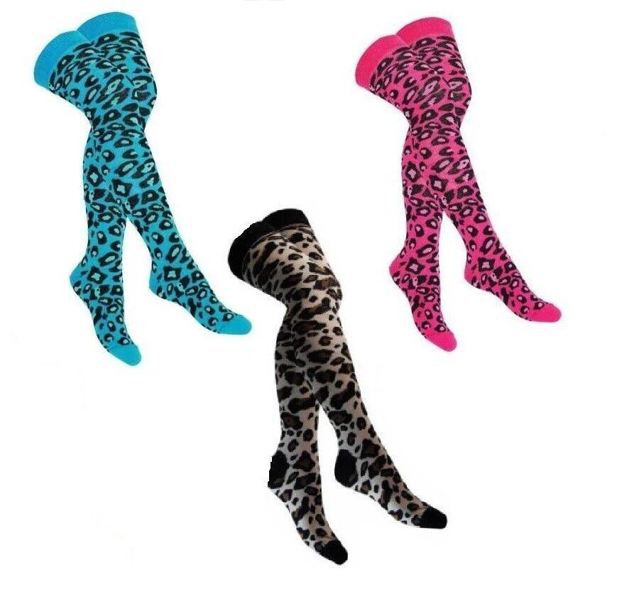 Overknees Leopard - versch. Farben - Kniestrümpfe Leo Muster Punk Gothic Socken