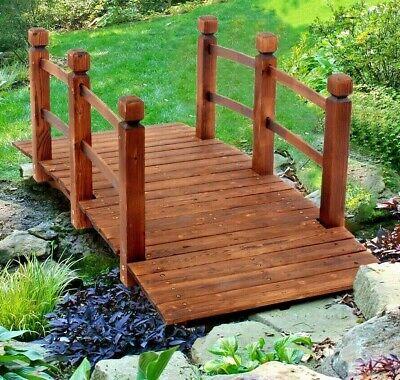 Large Garden Wooden Bridge Rustic Fir Wood Outdoor Patio Decor Backyard Pond UK
