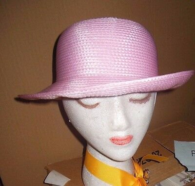 Candy Pink Sun Hat -  Lot of 12 Child size CANDY PINK curledbrim straw dressy hats