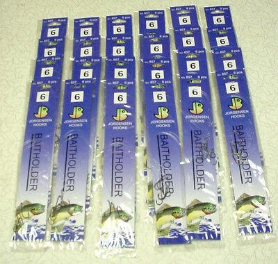 JORGENSEN  857-6 Snelled Baitholder Hooks - 24 pks / 6 per pack - Size 6