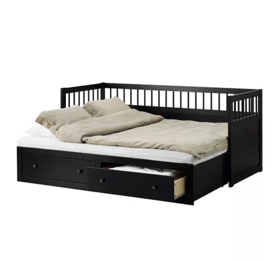 Ikea hemnes day sofa bed black with 2 mattresses in - Black days ikea ...