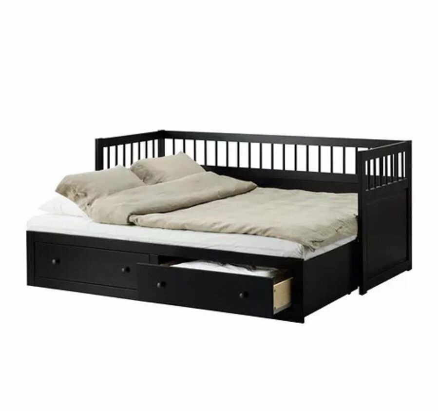 Ikea hemnes day sofa bed black with 2 mattresses in for Ikea day bed