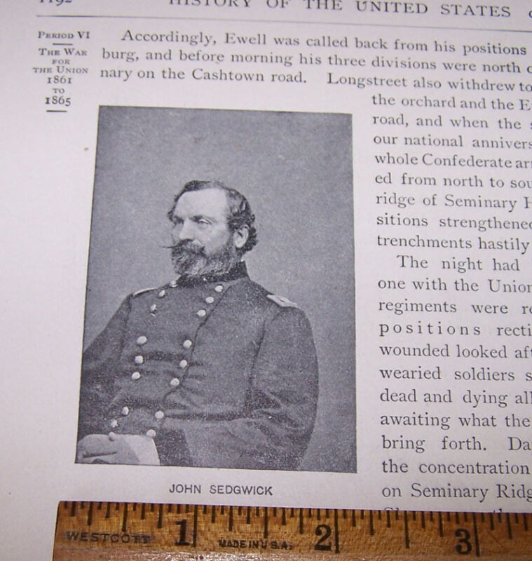 1900 Engraving of General JOHN SEDGWICK Union Army Civil War