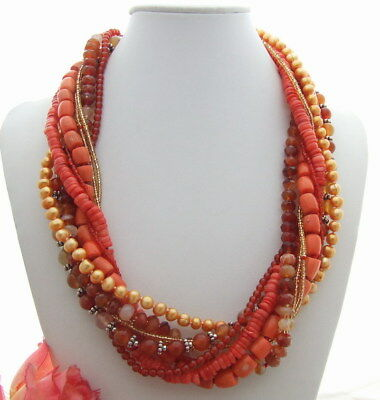 (9 rows cultured golden Pearl Red agate Coral Torsade Necklace 21