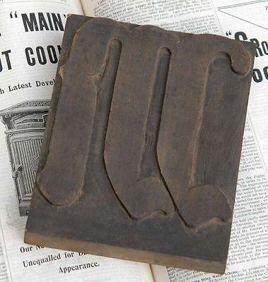 Huge M Blackletter 7.09 Handcarved Woodtype Printing Block Letterpress Abc