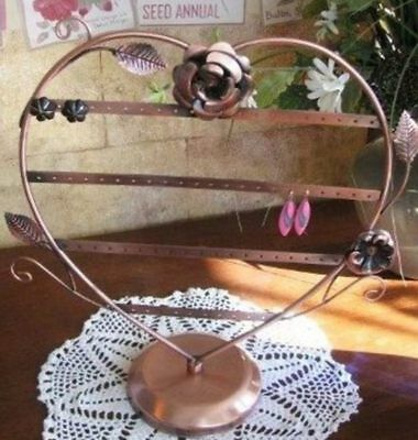 Earring Holder Rack 13 Inch Heart Copper Tabletop Display Rose Accent 34-68 Pair