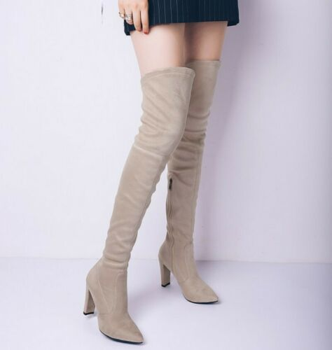 Details about  /41 42 43 Women Outdoor Block Heel Round Toe Dress Suede Fabric Knee High Boots L