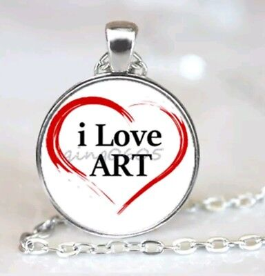 NEW I  LOVE ART Cabochon Glass silver tone Pendant Chain necklace. NEW