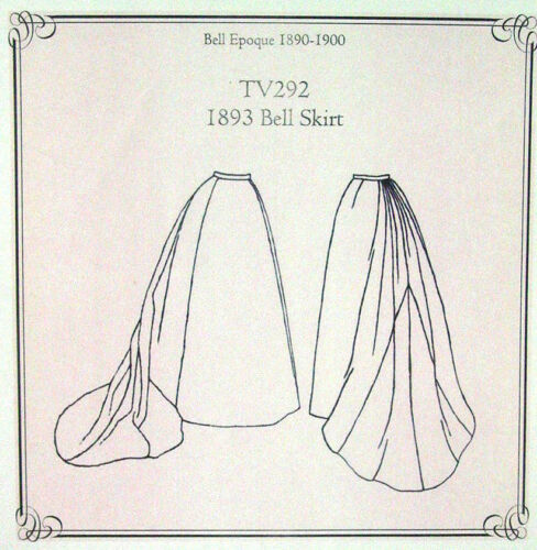 Truly Victorian sewing pattern for Old West 1893 Bell Epoque skirt TV292