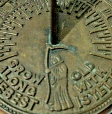Grow Old Along With Me Eagle Father Time Brass Sundial Mounted on Wood Block Vtg