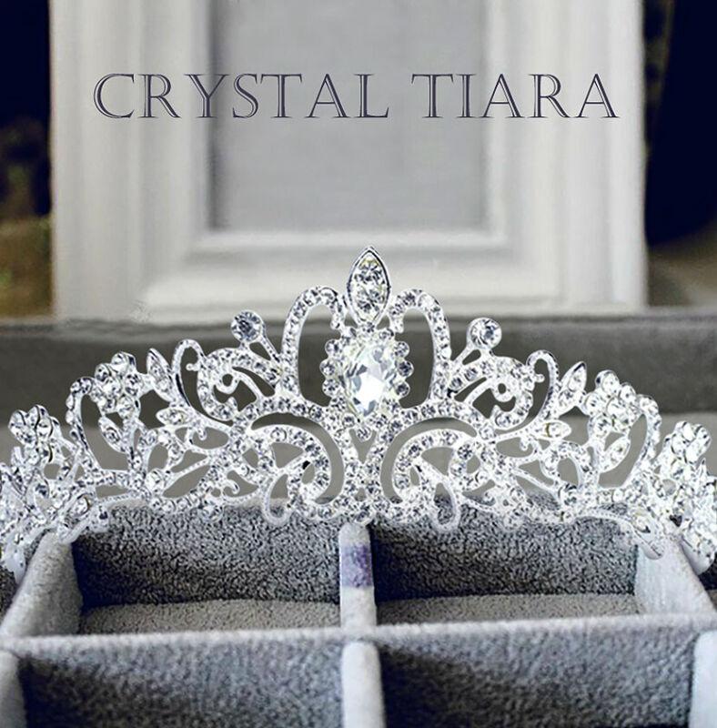 US Wedding Bridal Princess Crystal Prom Hair Tiara Crown Veil Headband with Comb