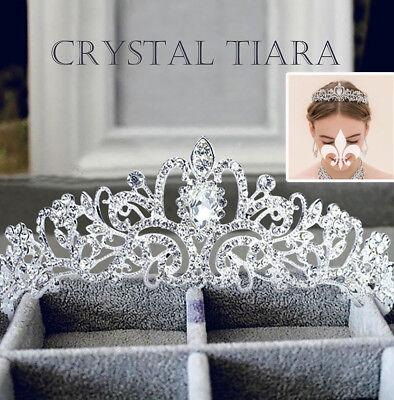 Rhinestones Baroque Bridal Crown Tiara Wedding Bride Hair Headdress Princess USA