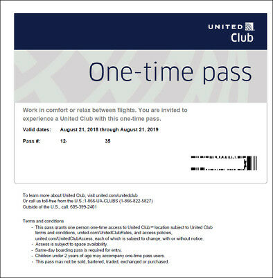 2 Passes for United Club One Time Pass EXP 4/22/2020 NOT CHASE E-pass