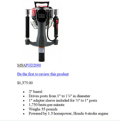 Gas Powered T-post Driver Honda Motor Titan Now Includes A Hard Sided Case