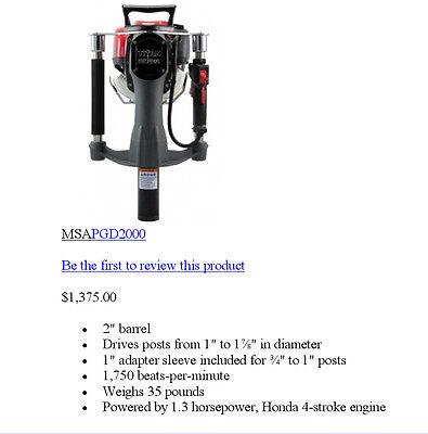Gas Powered T-Post Driver Honda Motor TITAN for sale  Alexander City