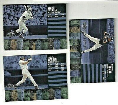 3) 2003 Upper Deck Piece of History Batting Champs Mickey Mantle, Walker, Thomas