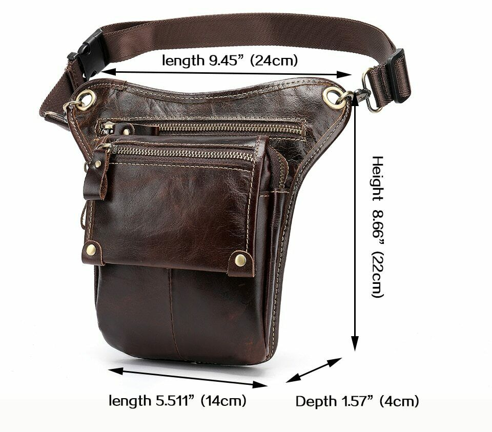 Small Waist Pack For Men Fashion Travel Belt Bag Solid Leather Hip Pouch Handbag