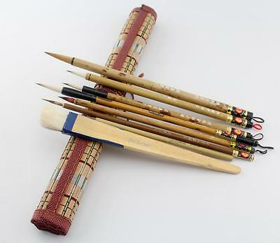 "LOT OF 8 PCS ""Santu""Chinese Ink detail Painting Gongbi Sumi-e Brush+Bamboo Bag"