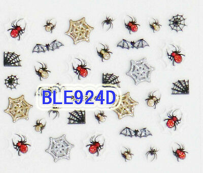 Halloween Gold Silver Red Glitter Spiders Webs Bats 3D Nail Art Sticker Decals (Red Glitter Halloween Nails)