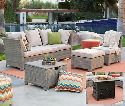 Wicker Patio Chat Set w Gas Fire Pit Slate Outdoor Furniture Sofa Table Cushions ()