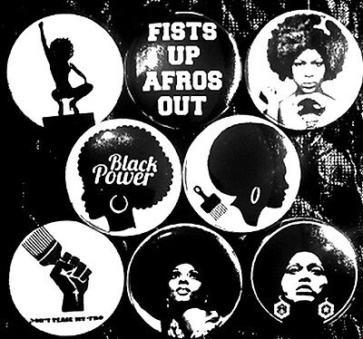Black Power 8 NEW 1 inch pins buttons badges strong woman fists up afros out