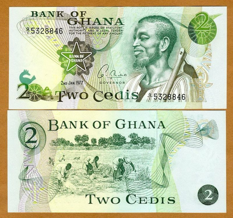 Ghana / Africa, 2 Cedis, 2-1-1977, P-14 (14c), UNC