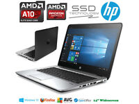 VERY FAST LIKE NEW HP EliteBook Gaming Laptop AMD QuadCore 3.3GHz SSD Radeon GFX Windows10 Pro