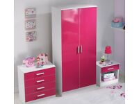 Brand new girl's children's 3 piece bedroom set wardrobe/ chest/ bedside cabinet wite/pink gloss!