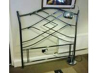 Chrome Double Headboard & Floor Light