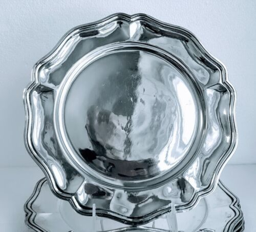 6 Classic Antique Dinner Charger Plates 900/1000 Pure Silver S. American 95.7ozt