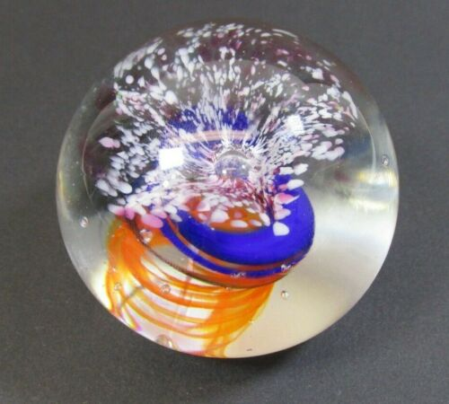 VTG Studio Art Glass Paperweight Signed Fred Wilkerson 1982 Orange & Blue