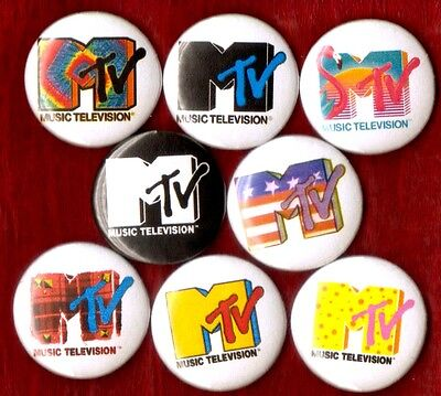MTV LOGO 8 NEW button pin badge 80's party favors 90's STOCKING STUFFER