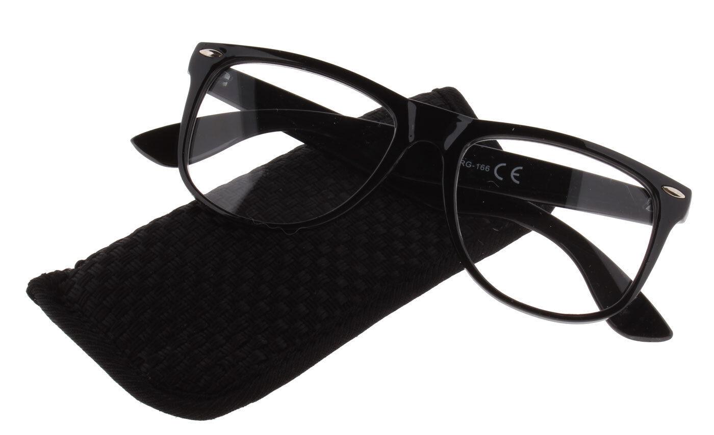 Retro Lesebrille Lesehilfe MAJESTIC große Gläser Herren Damen schwarz inkl. Etui