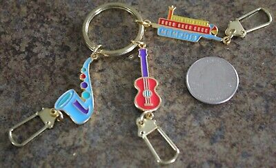 Memphis Tennessee Saxophone Guitar Charm Clips Keychain Key Ring #33350