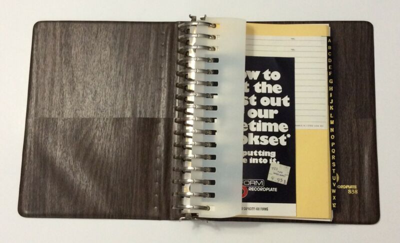 Rediform RecordPlate 838 Vtg 70s Address Book 16 Ring Binder Wood Grain 6.5x8.5""