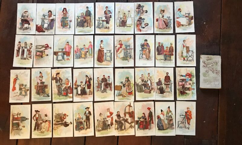 (36) DIFFERENT THE SINGER MANUFACTURING Co. ADVERTISING CARDS + Box! WL5336 Rare
