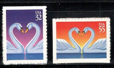 Love Swans (3123-24 Love Swans US Set Of 2 Mint/nh Free shipping)