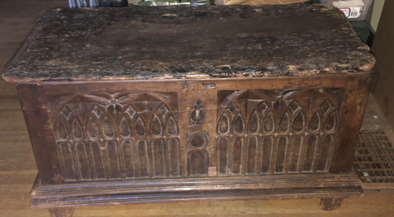 "Handmade Carved Trunk Carved Rustic Gothic Wood Chest 38"" 17th/16th Century"