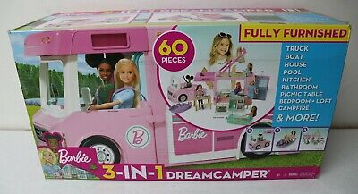 Barbie 3 in 1 Dreamcamper Fully Furnished 60 pieces New