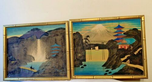 "Vintage  Asian Art Picture Painting  Bamboo Frame 14""x17"""