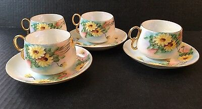 Antique Porcelain Pos Germany 4 Cups 3 Saucers Yellow Daisy