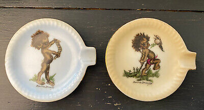 Two Vintage Brownie Downing Ashtrays Aborigines Signed Australia