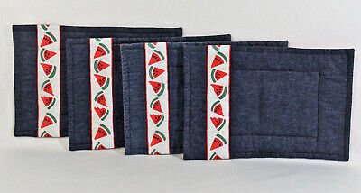 Set 4 Red Blue Denim Handmade Machine Quilted Placemats Country Farmhouse Decor  Machine Quilted Placemat