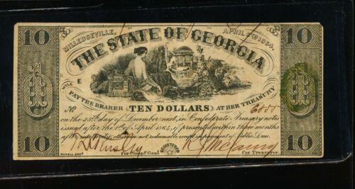 GEORGIA $10.00 NOTE - 1864 - ATTRACTIVE