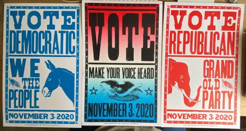 Nashville Hatch Show Print Posters - Republican, Democrat and Vote 2020 Set of 3