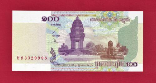 CAMBODIA 100 RIELS 2001 UNC BANKNOTE (P-53a) Sign: Chanto & Seng + FREE SHIPPING