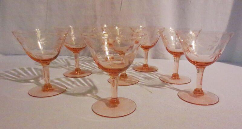 8 PINK OPTIC PANEL DEPRESSION WINE GOBLET GLASSES STEM ETCHED FLOWER