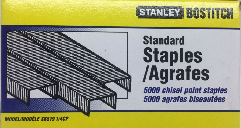 Stanley Bostitch SBS19 Standard Staples 5000/box 1/4CP Chisel Point USA