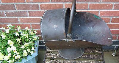 Antique heavy copper coal scuttle for restoration period film prop planter